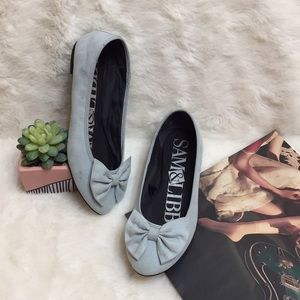 Sam & Libby Baby Blue Suede Chelsea Bow Flats